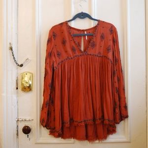 Free People Diamond Embroidered Bell Sleeved Tunic